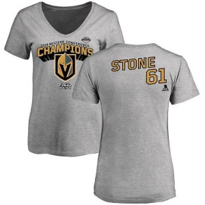 Mark Stone Vegas Golden Knights Women's Gold 2018 Western Conference Champions Long Change V-Neck T-Shirt - Heather Gray