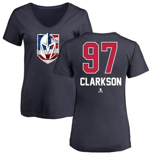David Clarkson Vegas Golden Knights Women's Gold Name and Number Banner Wave V-Neck T-Shirt - Navy